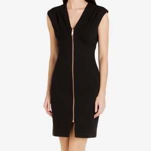 TED BAKER ASELLA FRONT ZIP DRESS BLACK SIZE 0